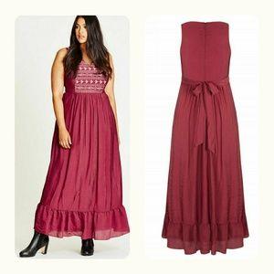 Boho Marsala Embroidered Maxi Dress